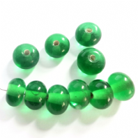 20 Green Lampwork Glass Rondelle Beads 11X8mm